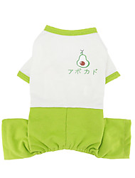 cheap -Dog Cat Jumpsuit Pajamas Avocado Basic Adorable Cute Dailywear Casual / Daily Dog Clothes Puppy Clothes Dog Outfits Breathable Green Costume for Girl and Boy Dog Polyster S M L XL XXL