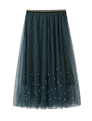 cheap -Women's Going out Weekend Elegant Streetwear Skirts Solid Colored Beaded Layered Pleated Blushing Pink Green Beige