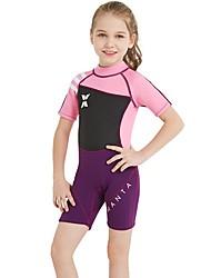 cheap -Kids Girls' Swimwear Rash Guard One Pieces One Piece Swimsuit Print Swimwear Print Color Block Black pink sleeves Gray green sleeves Black purple sleeves Active Bathing Suits