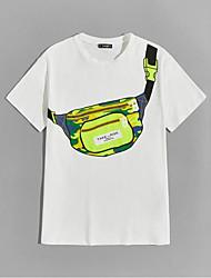 cheap -Men's T shirt Hot Stamping Bag Print Short Sleeve Casual Tops 100% Cotton Casual Fashion White