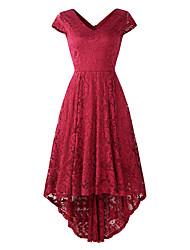 cheap -A-Line Elegant Vintage Party Wear Cocktail Party Dress V Neck Short Sleeve Asymmetrical Lace with Pleats 2021