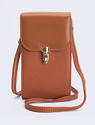 cheap -Women's Bags PU Leather Mobile Phone Bag Zipper Solid Color 2021 Daily Holiday Brown Beige