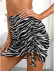 cheap -Women's Beach Bottom Rash Guard Swimsuit Smocked Slim Abstract Stripe White Swimwear Crop Top High Neck Bathing Suits New Sexy