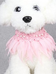 cheap -Cat Dog Collar Breathable Adjustable / Retractable Hands free Safety Solid Colored Lace White Pink