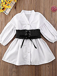 cheap -Kids Little Girls' Dress Solid Colored Ruched White Long Sleeve Active Dresses Regular Fit