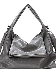 cheap -Women's Bags PU Leather Tote Zipper Embossed Plain Crocodile grain Date 2021 Handbags Black Green Gray