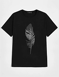 cheap -Men's Unisex T shirt Hot Stamping Feather Plus Size Print Short Sleeve Casual Tops 100% Cotton Basic Casual Fashion Black
