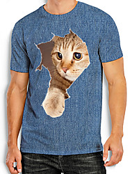 cheap -Men's Tees T shirt Other Prints Cat Graphic Prints Animal Print Short Sleeve Daily Tops Basic Casual Blue