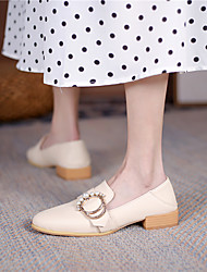 cheap -Women's Flats Flat Heel Round Toe Microfiber Imitation Pearl Solid Colored Almond Black
