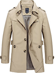 cheap -Men's Solid Colored Spring Trench Coat Regular Going out Long Sleeve Coat Tops Black