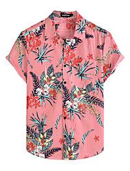 cheap -Men's Shirt Floral Short Sleeve Daily Tops 100% Cotton Basic Boho Red