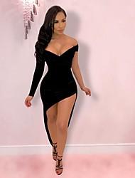 cheap -Sheath / Column Hot Sexy Holiday Party Wear Dress V Neck Long Sleeve Asymmetrical Spandex with Sleek 2021