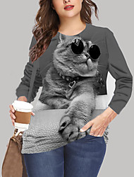 cheap -Women's Plus Size Tops T shirt Print Cat Graphic Animal Large Size Crewneck Long Sleeve Big Size XL XXL 3XL 4XL 5XL Black khaki Gray
