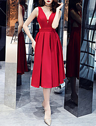 cheap -A-Line Hot Sexy Homecoming Cocktail Party Dress V Neck Sleeveless Knee Length Satin with Pleats 2021