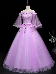cheap -Ball Gown Luxurious Floral Quinceanera Prom Dress Off Shoulder 3/4 Length Sleeve Floor Length Tulle with Sash / Ribbon Embroidery 2021