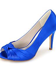 cheap -Women's Wedding Shoes Stiletto Heel Peep Toe Wedding Pumps Satin Solid Colored White Black Purple