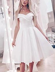 cheap -Princess A-Line Wedding Dresses Off Shoulder Knee Length Satin Short Sleeve Simple Little White Dress Cute with Pleats 2021