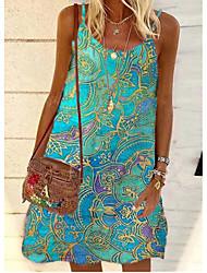 cheap -Women's A Line Dress Short Mini Dress Green Sleeveless Print Print Summer Round Neck Sexy 2021 S M L XL XXL 3XL