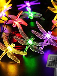 cheap -Solar LED Fairy String Lights 6.5m Dragonfly 30LEDs Warm White Colorful White 8 Mode Outdoor Waterproof Wedding Patio Garden House Decoration Lamp