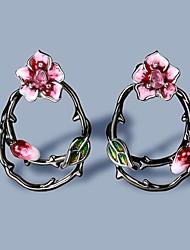 cheap -Women's AAA Cubic Zirconia Stud Earrings Monogram Petal Elegant Vintage Cute Earrings Jewelry Black For Gift Vacation Festival 1 Pair