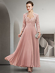 cheap -Two Piece A-Line Mother of the Bride Dress Elegant Sweetheart Neckline Floor Length Chiffon Lace Long Sleeve with Pleats Appliques 2021