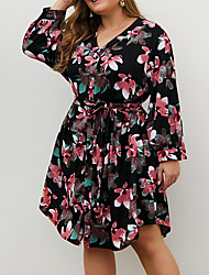 cheap -Women's Plus Size Floral Print Casual Long Sleeve Fall Knee Length Dress A Line Dress Black Red
