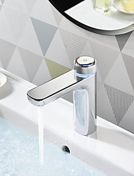 cheap -Digital Bathroom Sink LED Faucet with Temperture Display Chrome/Brass Basin Faucet