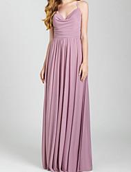 cheap -Sheath / Column V Neck Floor Length Chiffon Bridesmaid Dress with Pleats