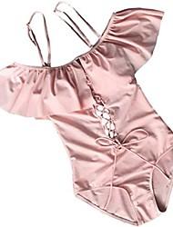cheap -moco bff women lace up ruffled off shoulder flounce monokini bathing swimsuit frill one piece bikini (large, pink)