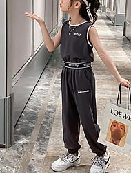 cheap -Kids Girls' Clothing Set Letter Sleeveless Print Cotton Daily Wear Gray Basic Regular 3-13 Years