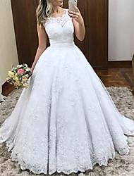 cheap -Princess Ball Gown Wedding Dresses Jewel Neck Sweep / Brush Train Lace Tulle Cap Sleeve Formal Romantic Luxurious with Pleats Appliques 2021