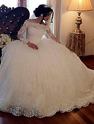 cheap -Princess Ball Gown Wedding Dresses Off Shoulder Floor Length Lace Tulle Long Sleeve Formal Romantic Luxurious Sparkle & Shine with Sequin Appliques 2021