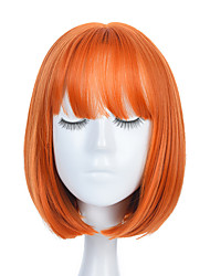 cheap -Women Orange Short Cosplay Wig with Bangs BOb Hairstyle Heat Resistant Fiber Synthetic Straight Hair