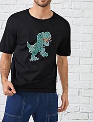 cheap -Men's Unisex T shirt Hot Stamping Dinosaur Plus Size Print Short Sleeve Casual Tops 100% Cotton Basic Casual Fashion Black