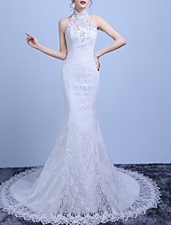 cheap -Mermaid / Trumpet Wedding Dresses High Neck Sweep / Brush Train Lace Tulle Sleeveless Romantic with Beading Appliques 2021