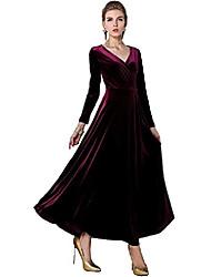 cheap -Women's A Line Dress Maxi long Dress Wine Purple Dark Green Royal Blue Black Long Sleeve Solid Color All Seasons Casual 2021 S M L XL XXL XXXL