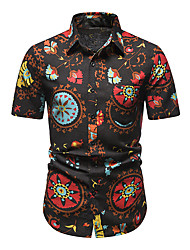 cheap -Men's Shirt Other Prints Abstract Short Sleeve Daily Tops 100% Cotton Black / Red