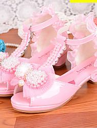cheap -Girls' Sandals Flower Girl Shoes Princess Shoes School Shoes Rubber PU Little Kids(4-7ys) Big Kids(7years +) Daily Party & Evening Walking Shoes Pearl Sparkling Glitter Buckle White Pink Fall Spring