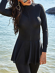 cheap -Women's Rash Guard Diving Swimsuit UV Protection Quick Dry Water Sports Solid Colored Black Plus Size Swimwear High Neck Bathing Suits New Casual Sporty Breathable Zipper Full Coverage