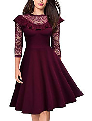 cheap -missmay women's 50s vintage floral ruffle lace 3/4 sleeve cocktail party swing a-line dress, medium, burgundy
