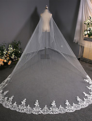 cheap -One-tier Flower Style / Lace Wedding Veil Chapel Veils with Scattered Bead Floral Motif Style / Solid 137.8 in (350cm) Lace / Tulle