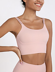 cheap -Women's Spaghetti Strap Sports Bra Padded Bra Medium Support Open Back Removable Pad Solid Color White Black Yellow Pink Khaki Spandex Yoga Fitness Gym Workout Bra Top Sport Activewear Breathable