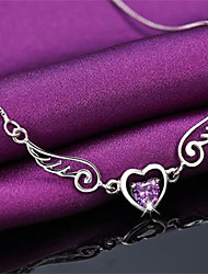 cheap -Women's Pendant Necklace Heart Precious Fashion Zircon Copper Silver Plated White Purple 45 cm Necklace Jewelry 1pc For Christmas Wedding Party Evening Street Gift