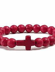 cheap -jude jewelers christian sideways cross turquoise beads strand bracelet (red)