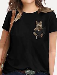 cheap -Women's Plus Size Tops T shirt Print Cat Graphic Animal Large Size Round Neck Short Sleeve Basic Big Size XL XXL 3XL 4XL 5XL White Black / 100% Cotton