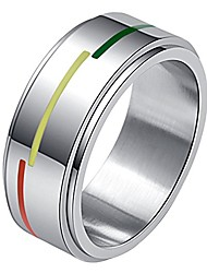 cheap -men's stainless steel rainbow flag spinner ring lgbt pride gay lesbian wedding band 8mm size 8