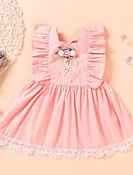 cheap -Toddler Little Girls' Dress Flower Beaded Bow Blushing Pink Sleeveless Active Dresses Summer Regular Fit 2-6 Years