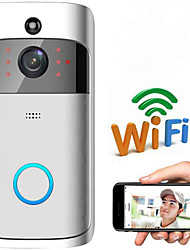 cheap -Wireless Doorbell WiFi Video Smart Talk Door Ring Security HD Camera Bell With 32GB memory and 2 Chargeable battery, Black Chrome Color