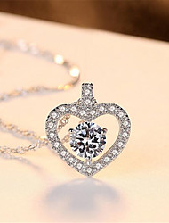 cheap -Pendant Necklace Charm Necklace Women's Geometrical Zircon Silver Plated Heart Fashion Lovely Wedding Silver 45 cm Necklace Jewelry 1pc for Christmas Wedding Gift Daily Work Geometric
