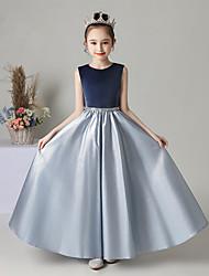cheap -Princess / A-Line Jewel Neck Floor Length Satin / Velvet Junior Bridesmaid Dress with Sash / Ribbon / Pleats